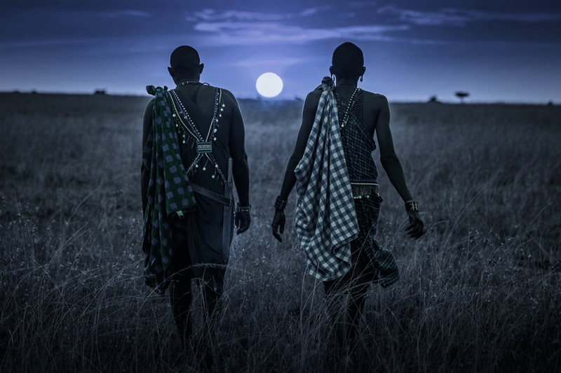 Masai in the Moonlight on safari in the Mara with Safaris Unlimited Africa