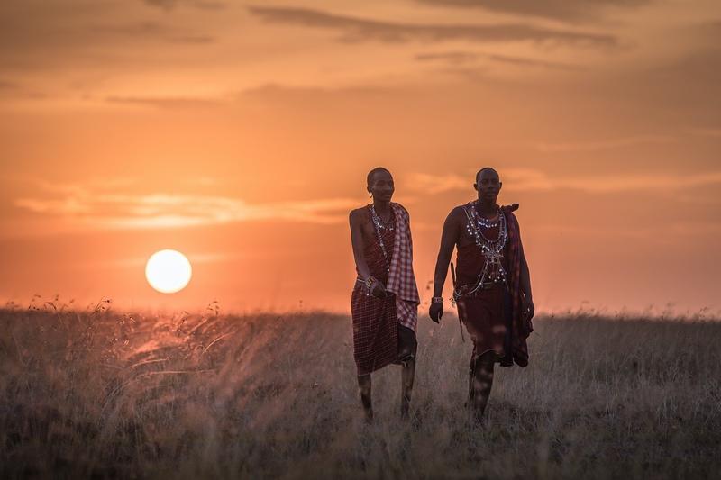 Masai Maasai Walk Home in the Mara, Kenya at Sunset with Safaris Unlimited